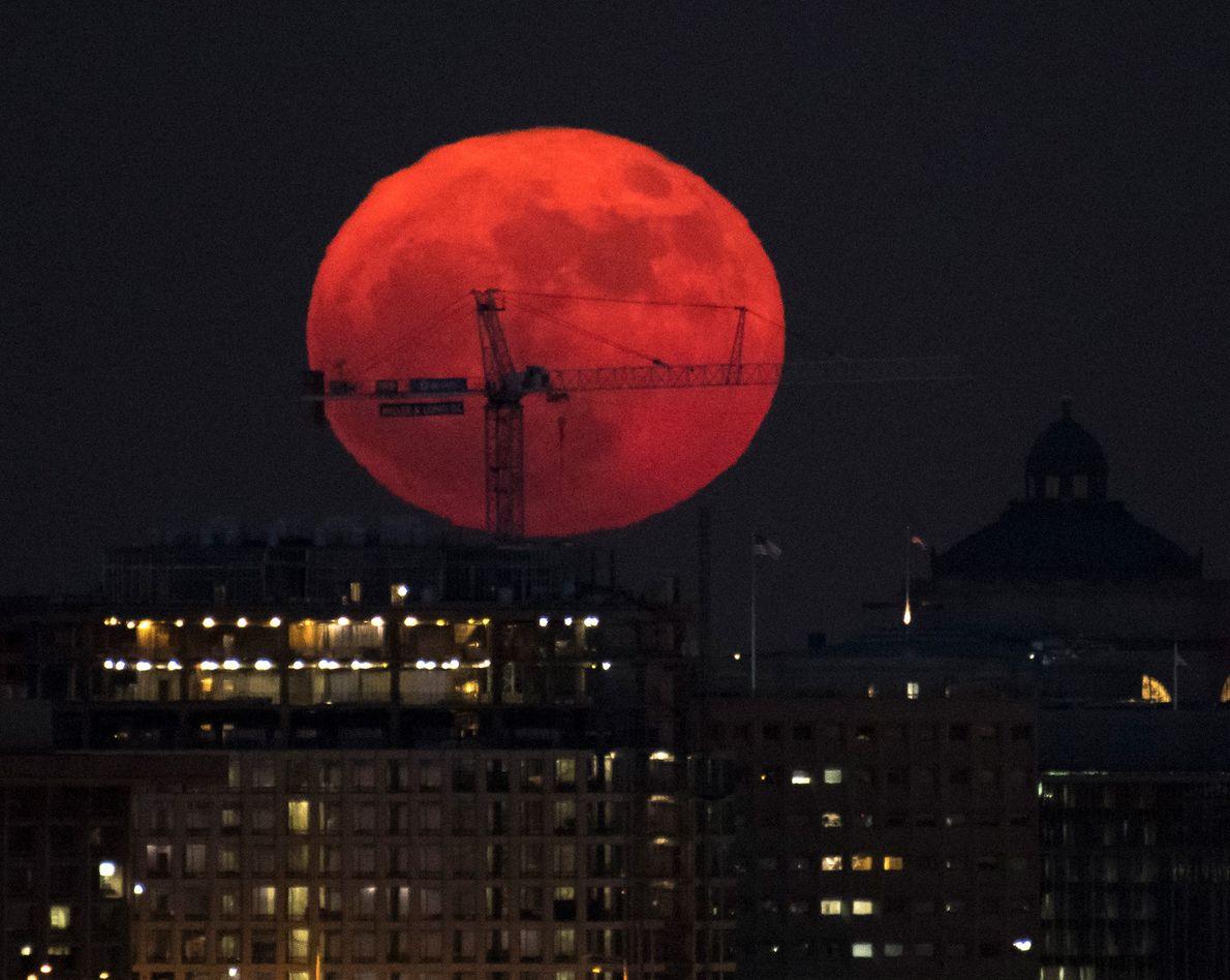The moon rises in Washington, D.C.