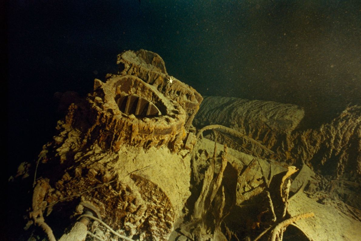 Bronze valve fittings from the engine area of the Titanic rest on the sea floor.