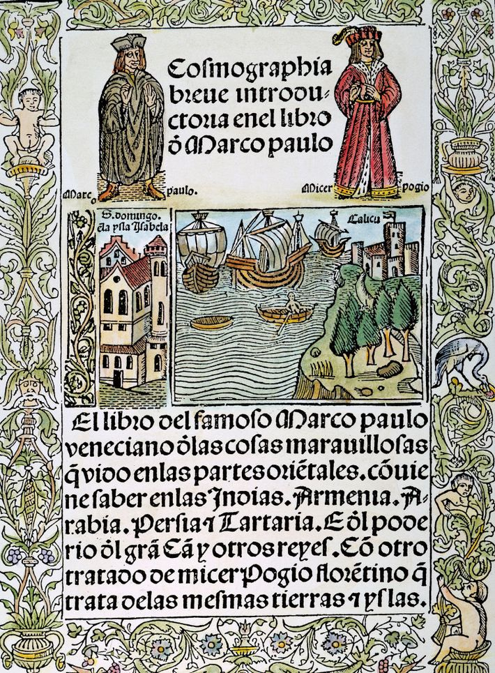 Title page of a 1503 Spanish edition of the Travels of Marco Polo. The Venetian explorer ...