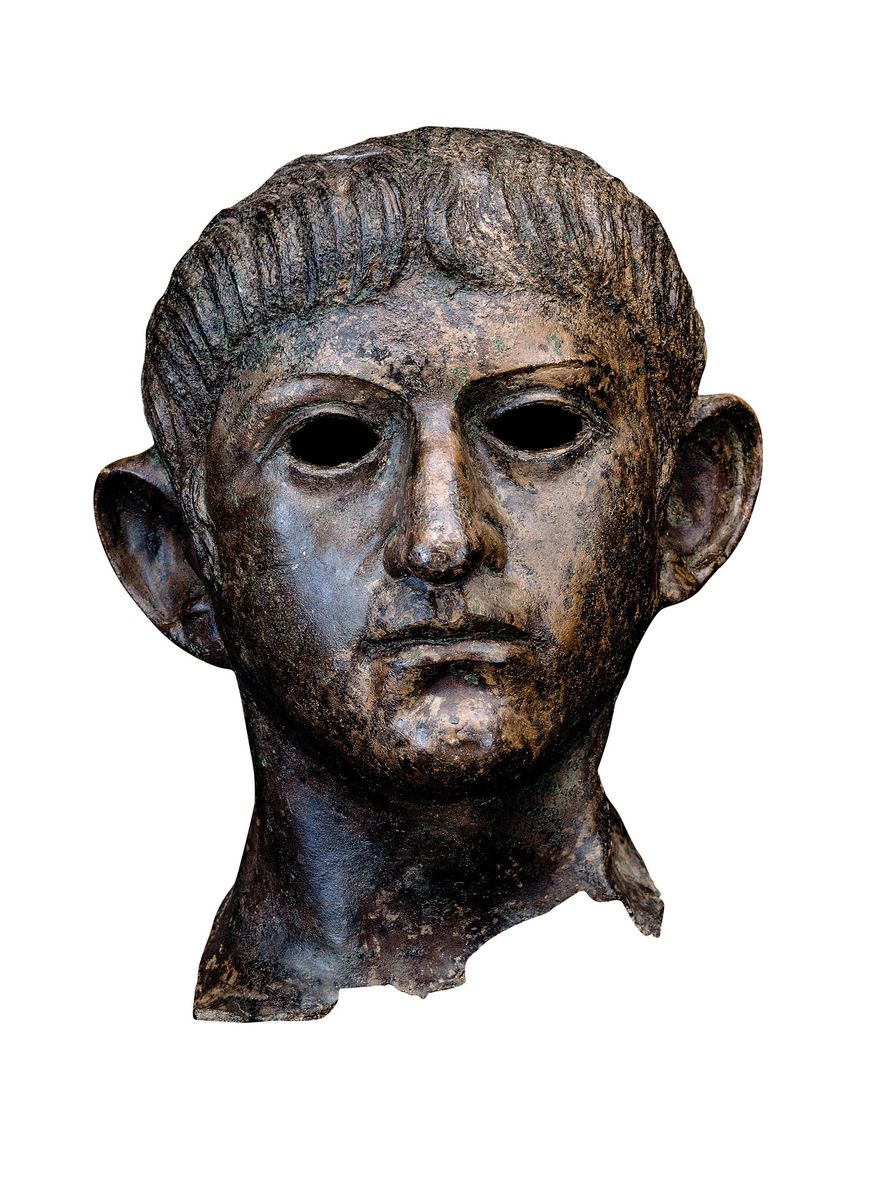 The head of Claudius was severed from its statue by Boudica's rebels at Camulodunum. In 1907 it was discovered in a river nearly 40 miles away. British Museum, London
