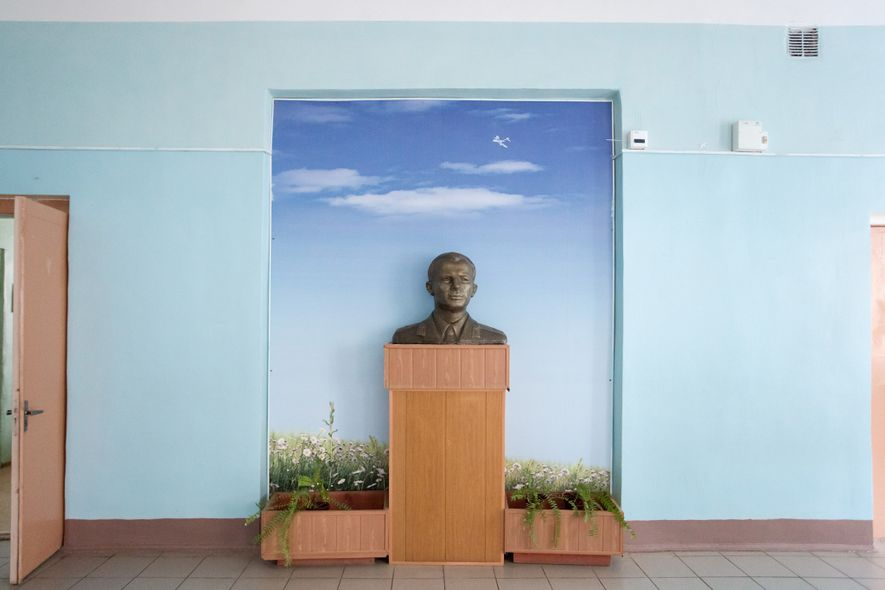 A sculpture of Yuri Gagarin sits on display at a local school.