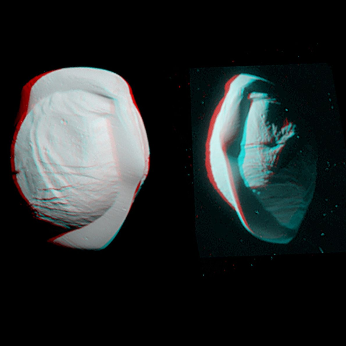 These stereo views, taken by Cassini in March 2017, highlight the quirky shape of Saturn's small ...