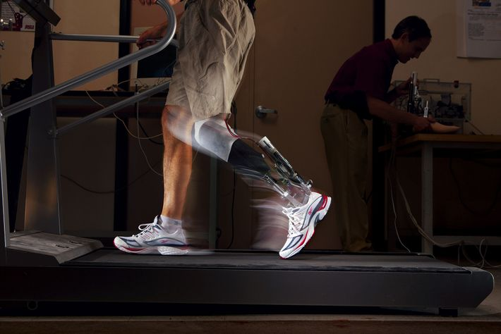 Motorised springs in a powered ankle push off like a real leg.