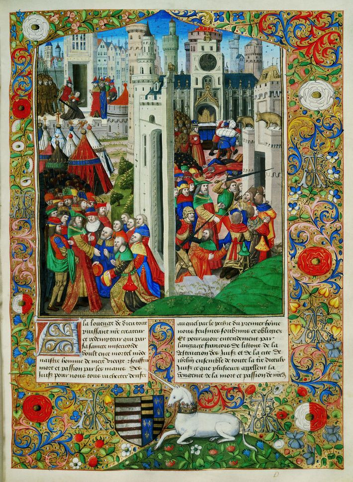 An illuminated 15th-century manuscript of Josephus's The Jewish War features colourful illustrations of the Maccabees' revolt ...