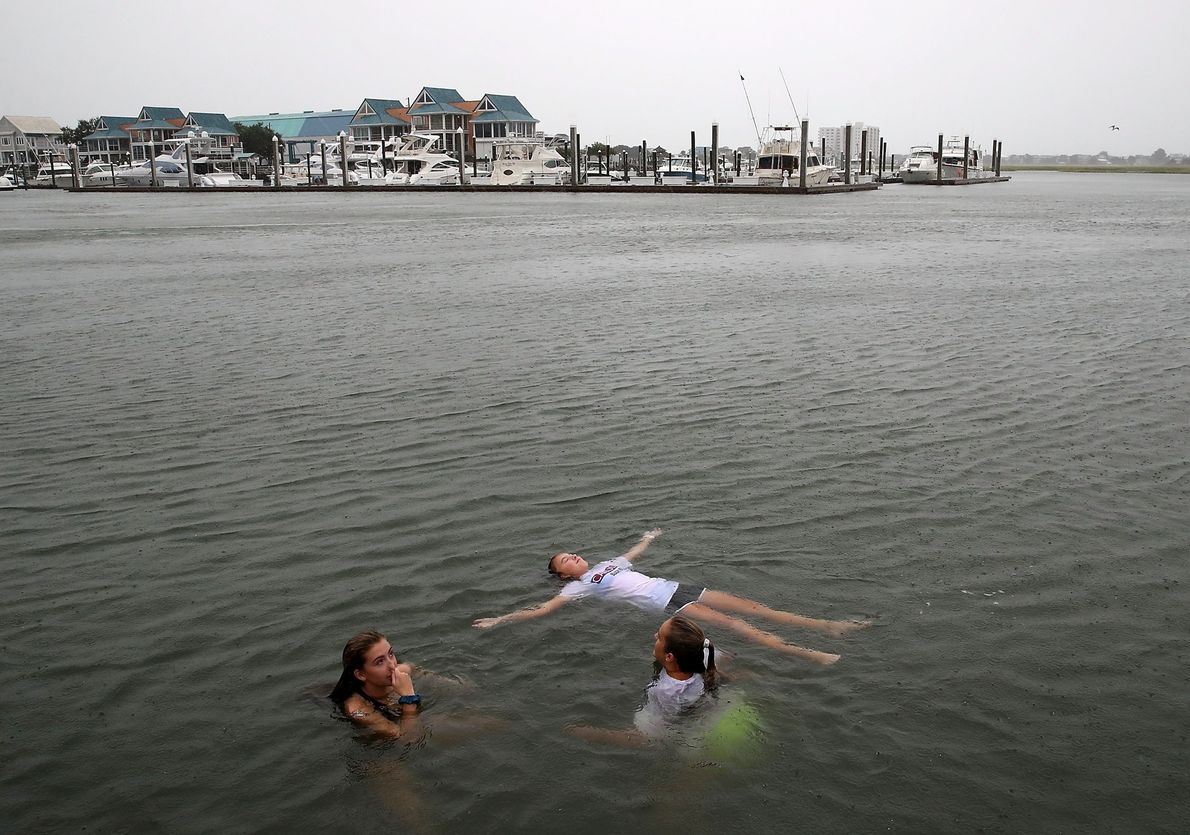 Carson Grace Toomer, Martin-Maine Wrangel, and Elizabeth Claire Toomer, swim in the Intracoastal Waterway near Wilmington, ...