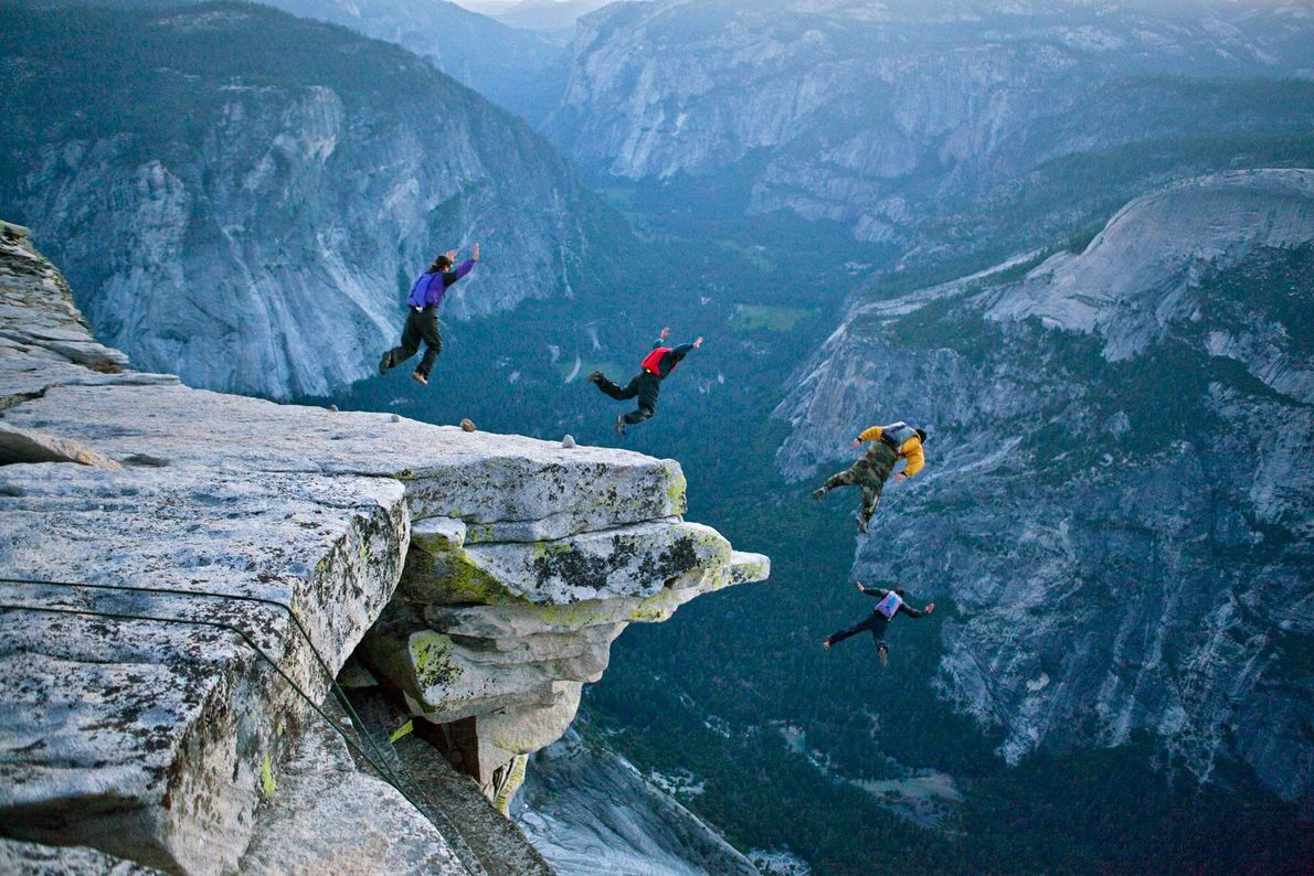 Half Dome juts over 1,650 metres  (5,000 feet) above ground, almost 3,000 metres (9,000 feet) ...