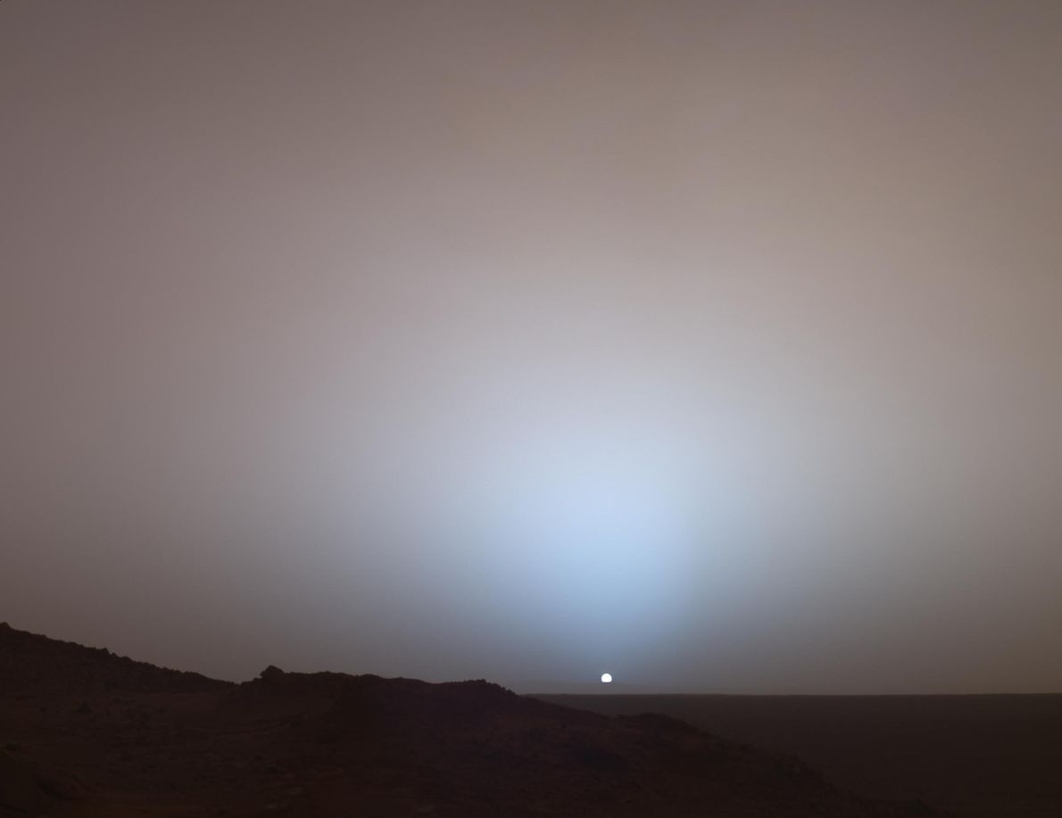 On May 19, 2005, NASA's Spirit rover captured a Martian sunset at the rim of Gusev ...