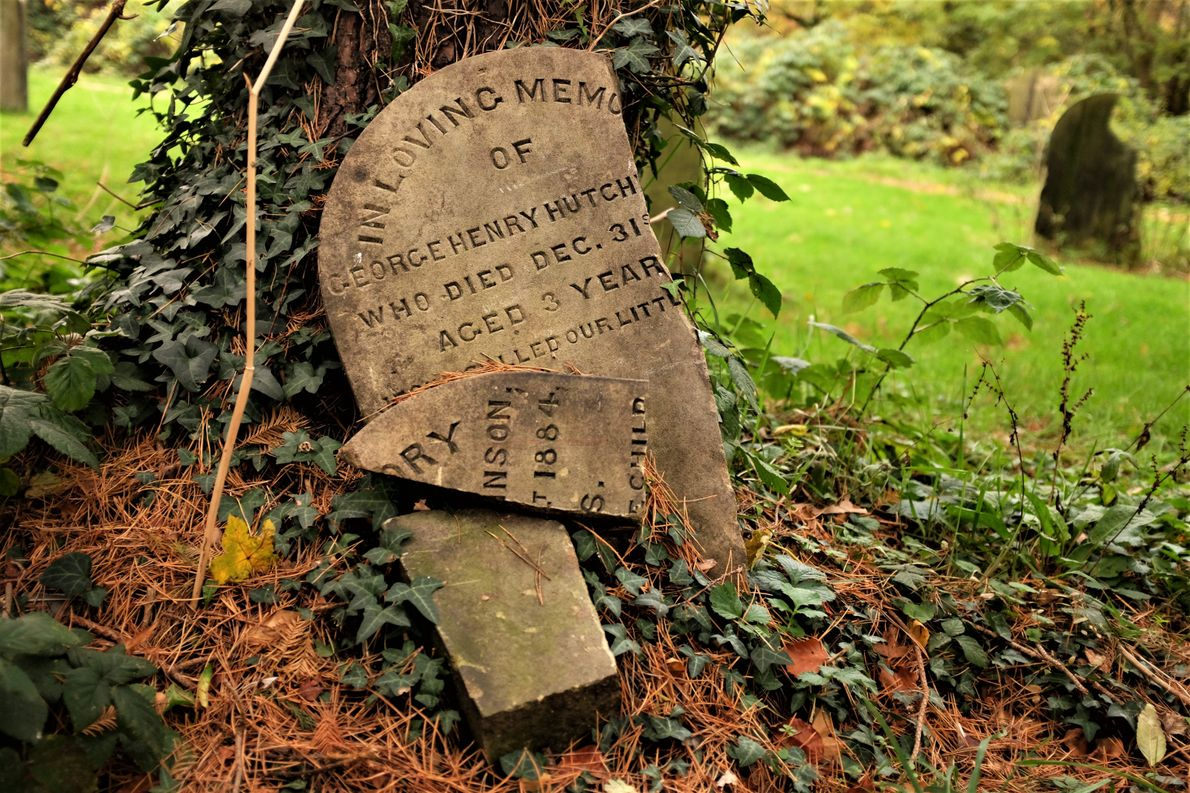 """Katie Thornton: """"The gravestone of a young boy, though broken and removed from its original location, ..."""