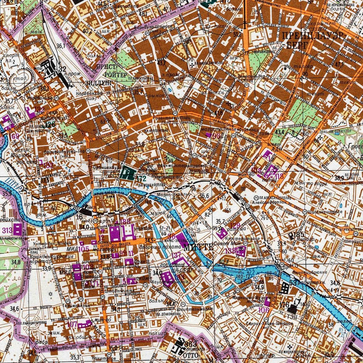 The Berlin Wall is outlined in magenta in this Soviet map printed in 1983.