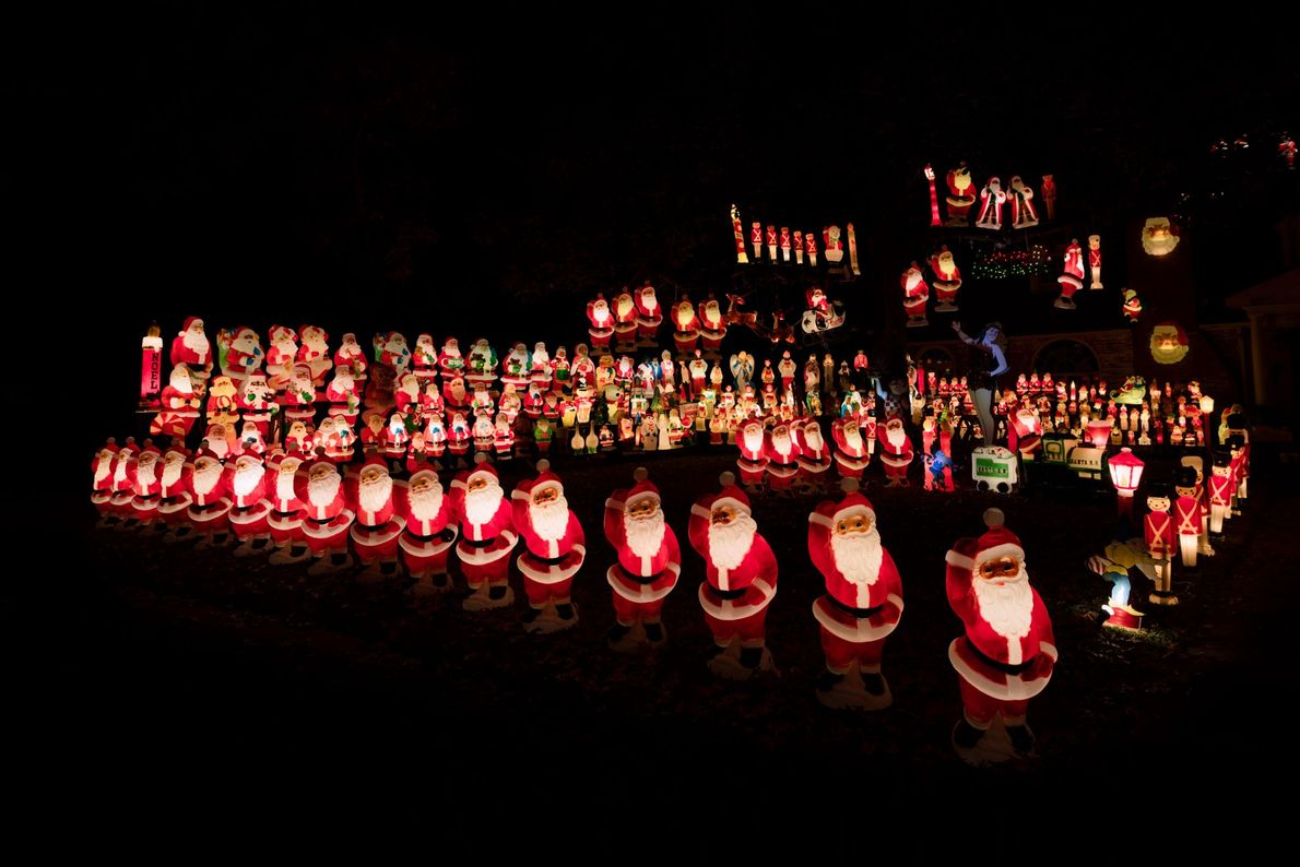 A homeowner's collection of classic Empire Plastics Christmas display highlight a yard in the Dallas, Texas ...