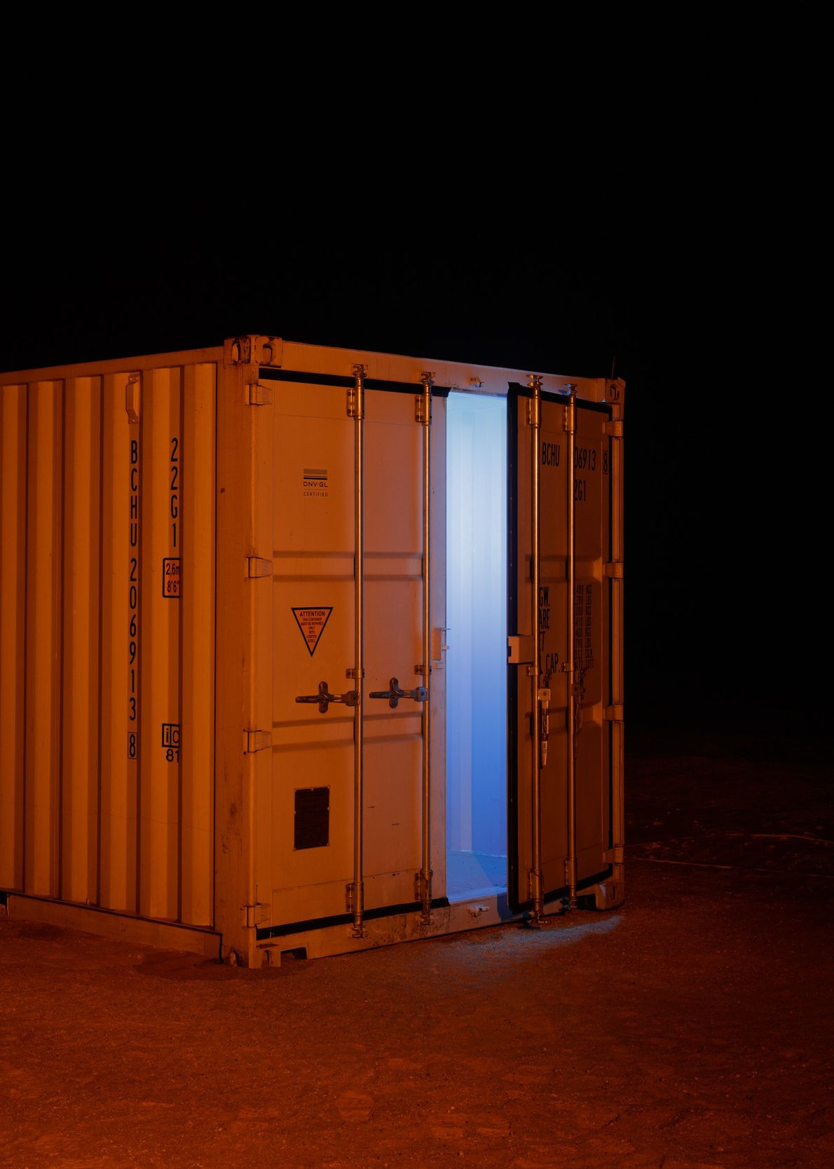 Ghostly light escapes from one of AMADEE-18's storage containers. It took more than a month to ...