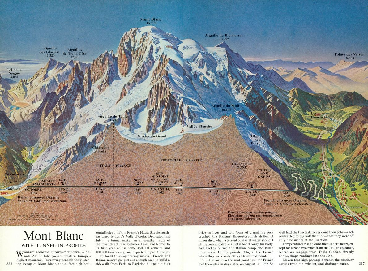 A cutaway of Europe's Mont Blanc from September 1965 shows what, at the time, was the …