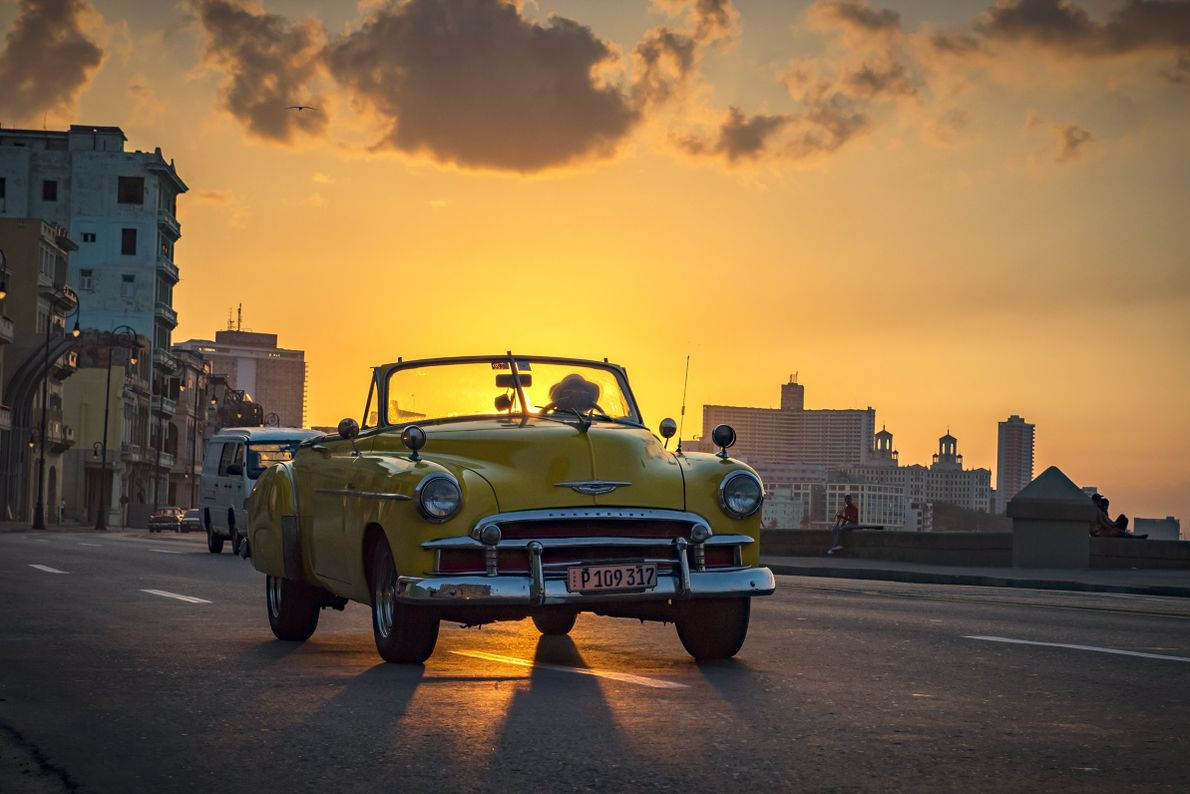 """""""I captured this golden image in the romantic sunset on Malecon, Havana,"""" writes Your Shot photographer ..."""