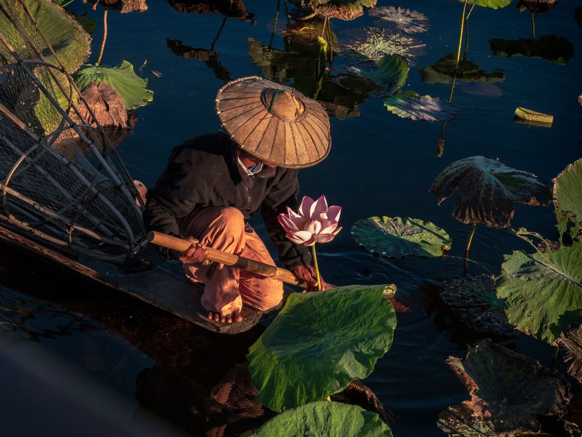 Your Shot photographer Carolyn Angus photographed this man on Inle Lake in Vietnam at early dawn ...