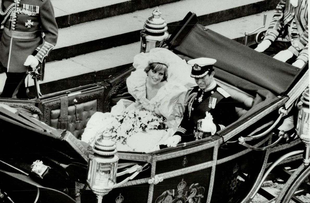 Prince Charles and Lady Diana at their wedding in July 1981.