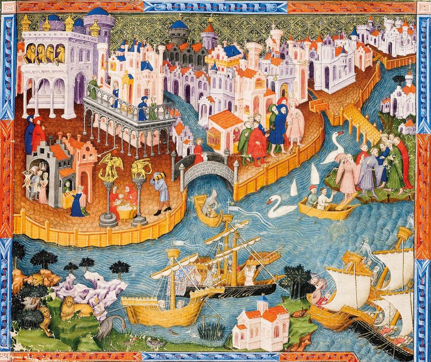 A 15th-century illustration from Marco Polo's  Travels, held by the Bodleian Library, Oxford, shows the Polos' ...