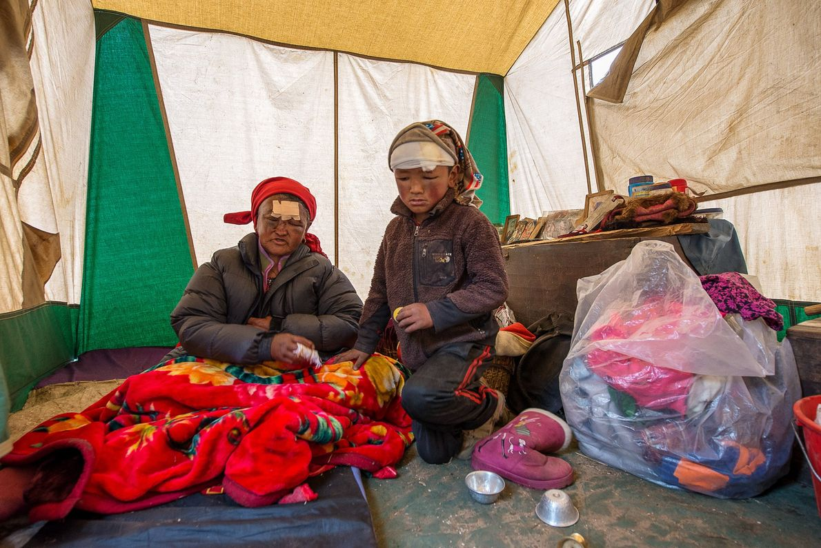 Ang Phutti Sherpa and her grandson Lhakpa Nuru Sherpa suffered head wounds, cuts, and bruises after ...