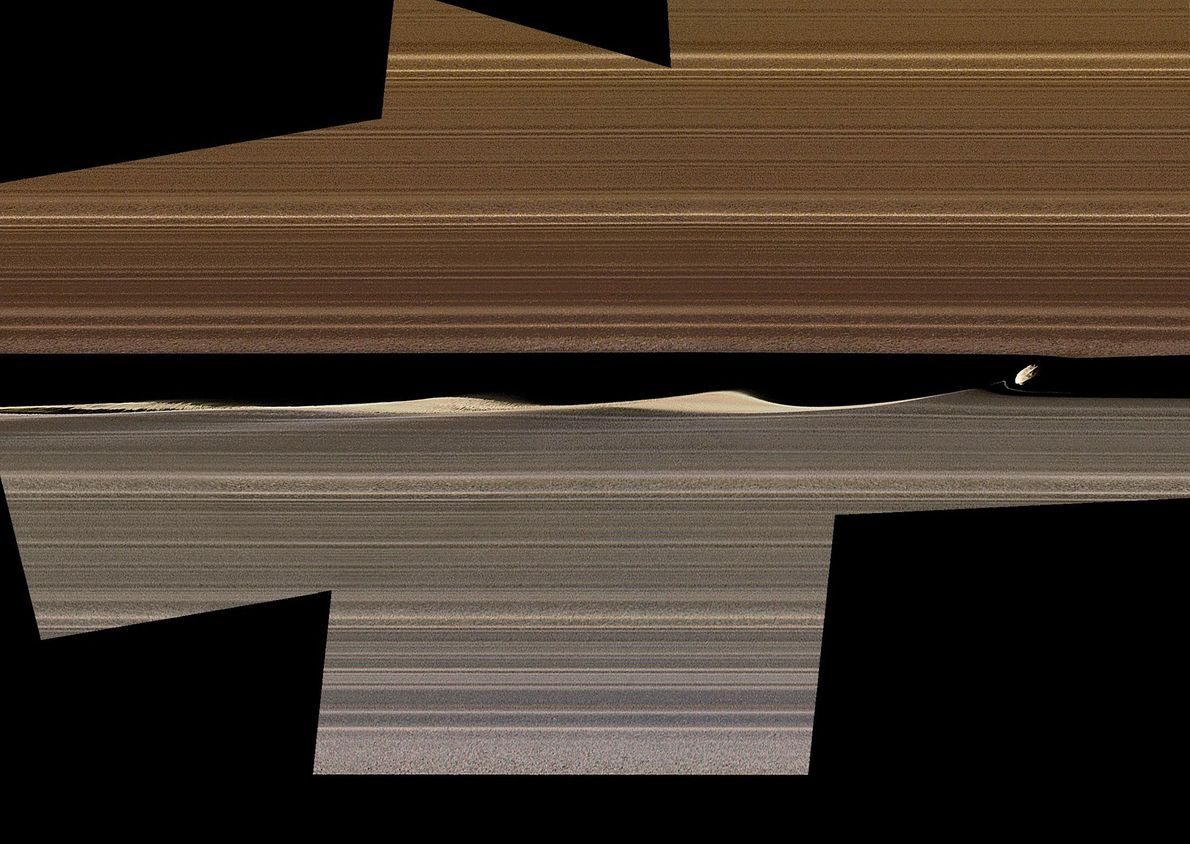 This enhanced-color mosaic shows Daphnis, one of the moons in Saturn's rings, kicking up three waves ...