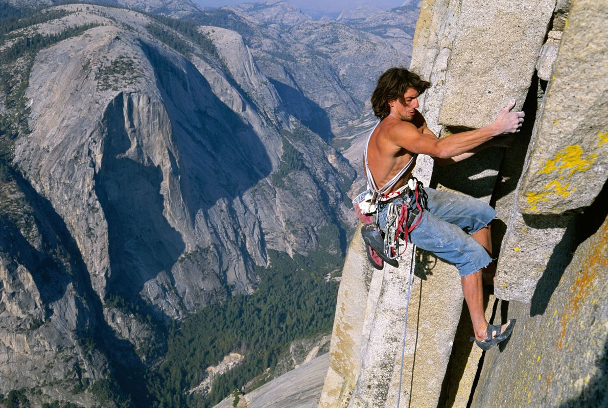 Dean Potter, who died in a wingsuit accident in 2015, climbs Half Dome in 2012. After ...