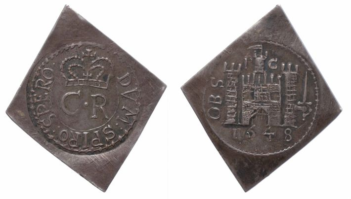 The angular sides of this coin, minted in Pontefract Castle in 1648, made it easier to ...