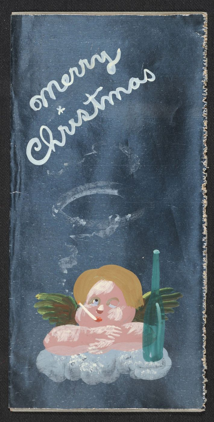 A subversive take on Raphael's famous cherubs from the Sistine Madonna, Julia Thecla's holiday card features ...
