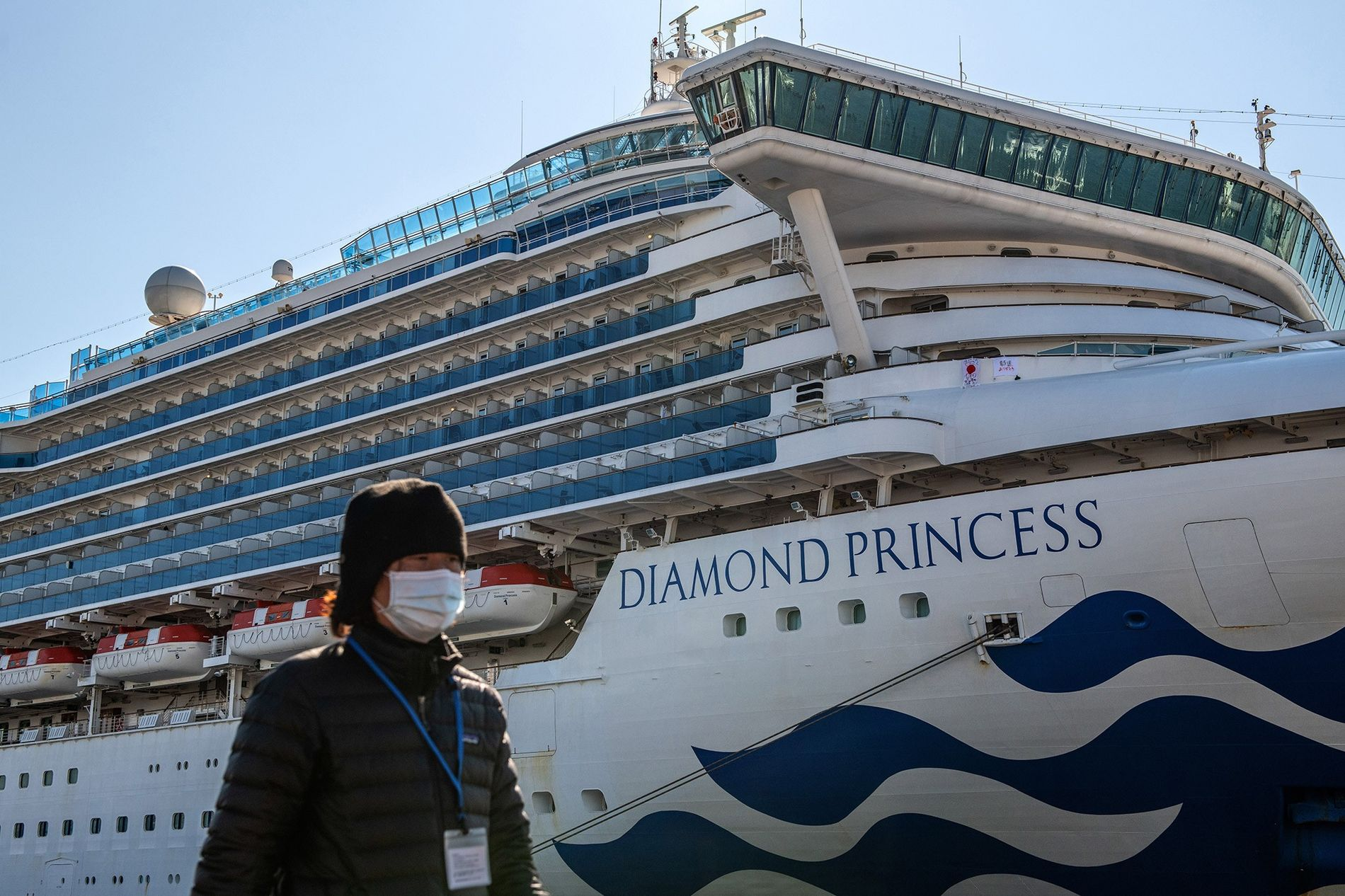 The Diamond Princess cruise ship (shown docked in Yokohama, Japan, on February 10) was quarantined in ...