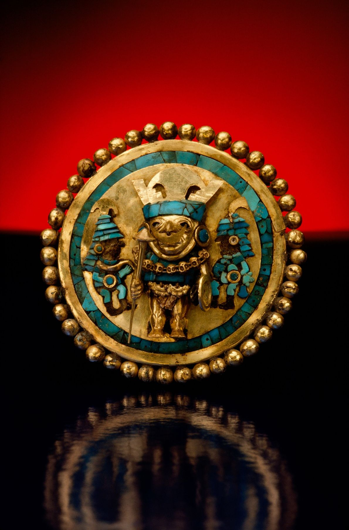 This Moche ornament was discovered in a tomb near Sipan. Chiclayo, Peru.