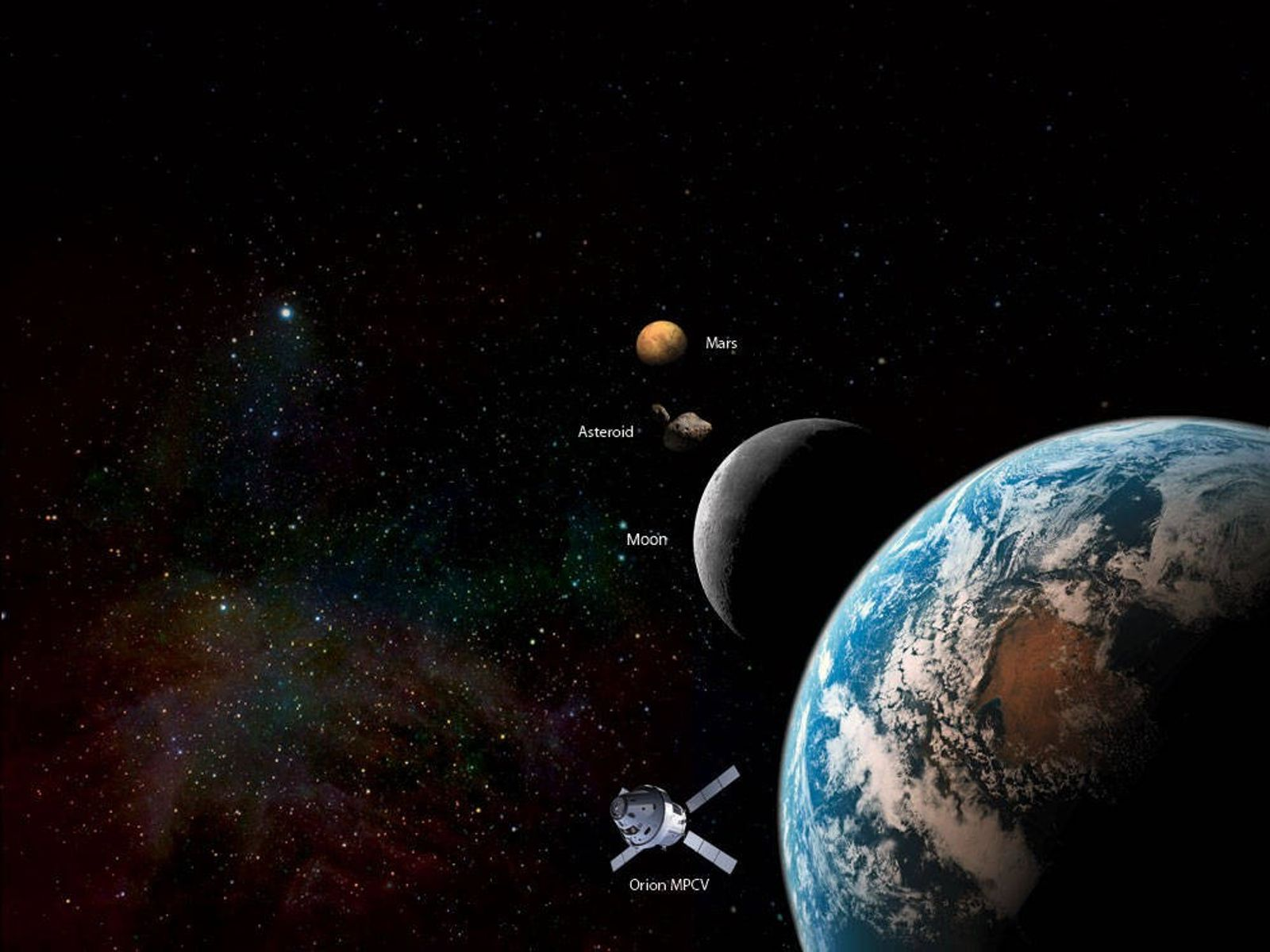 An artist's impression shows the Orion Multipurpose Crew Vehicle and future destinations for human exploration beyond ...