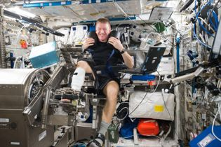 Tim Peake using ESA's muscle measurement machine Mares on the International Space Station. Tim shared this ...