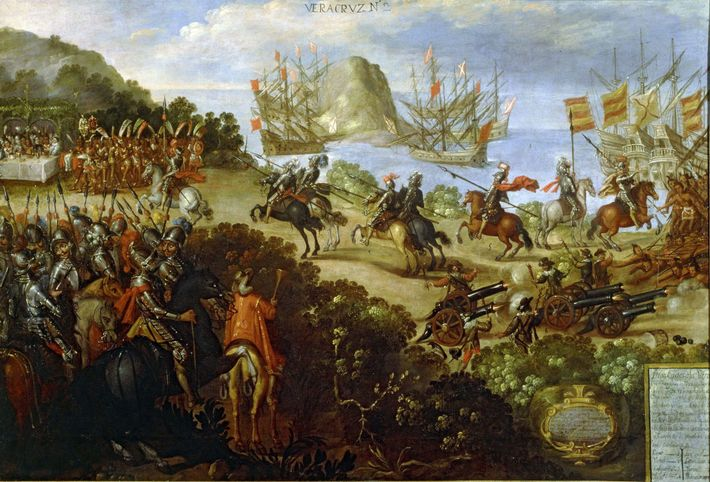 This mid-17th-century painting, which depicts Cortés' meeting with Aztec royal ambassadors, features a landscape very similar ...