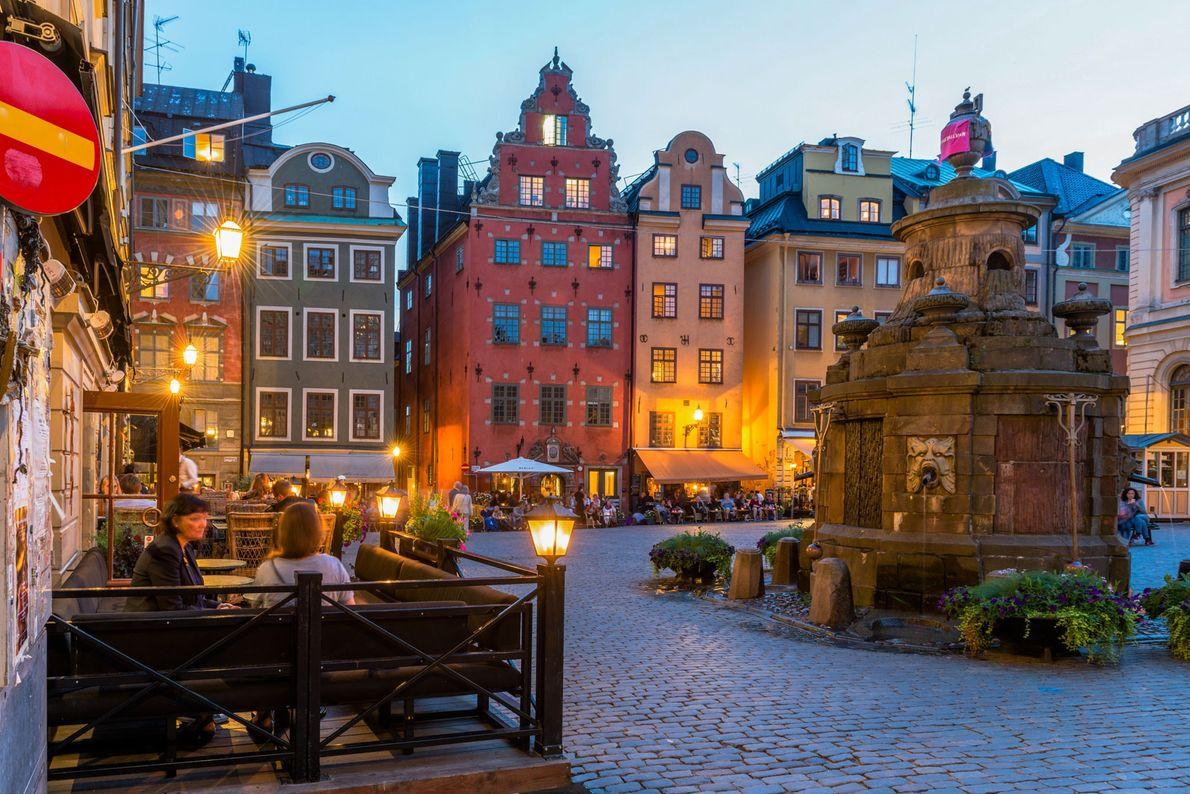 Outdoor cafés line Stortorget square, the oldest in Stockholm.