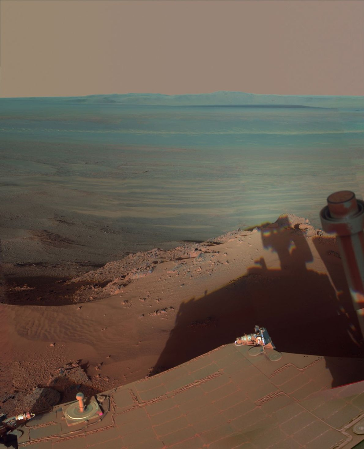 The Opportunity rover spent four months perched on the northern slope of Greely Haven and snapped ...