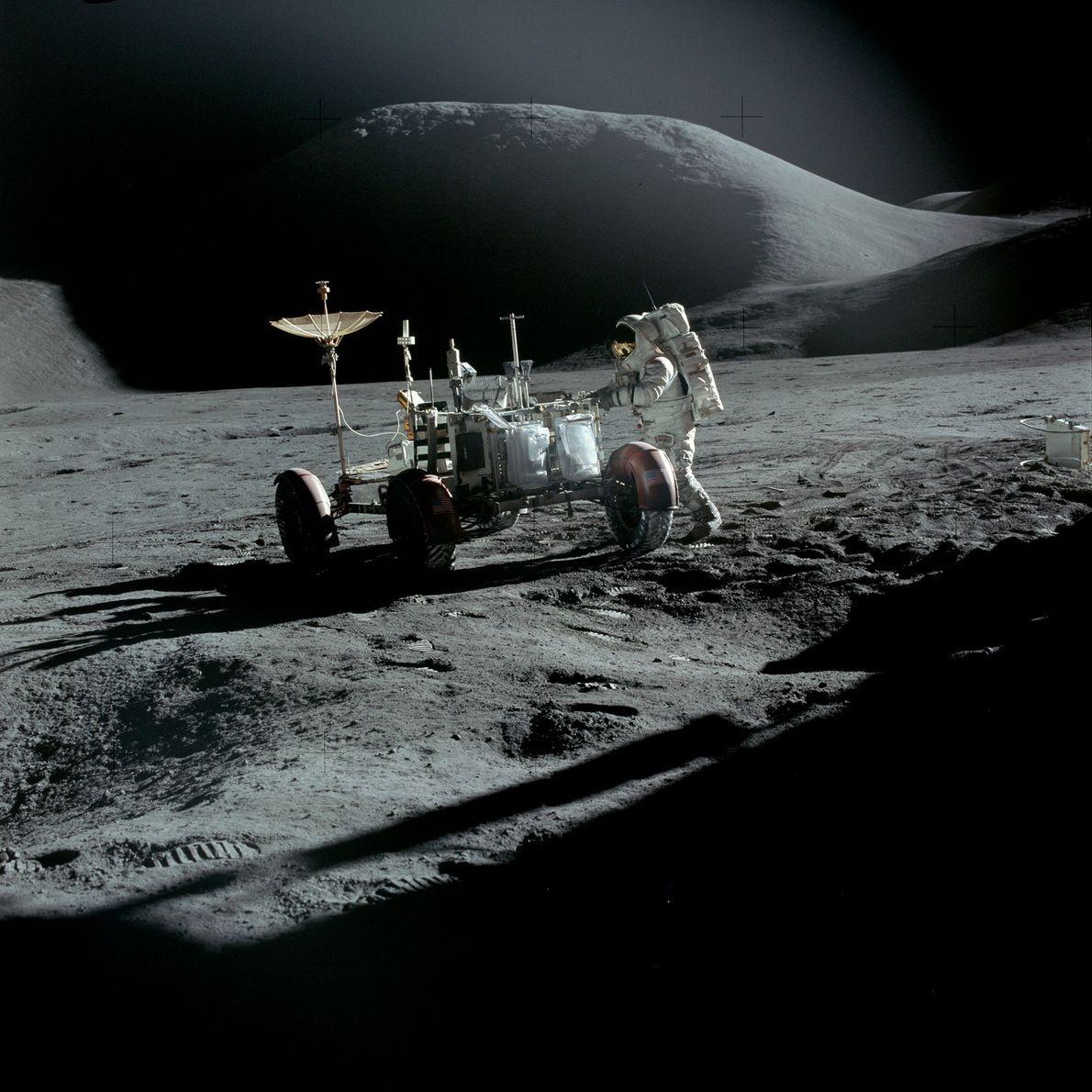 Astronaut James B. Irwin with Apollo 15's Lunar Roving Vehicle.