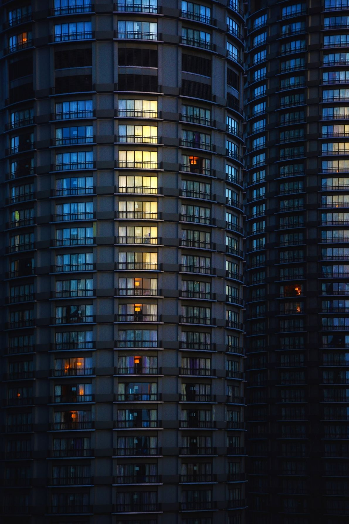 """""""Rising up the the city floor, the two Westin Towers stand tall and a reminder of ..."""