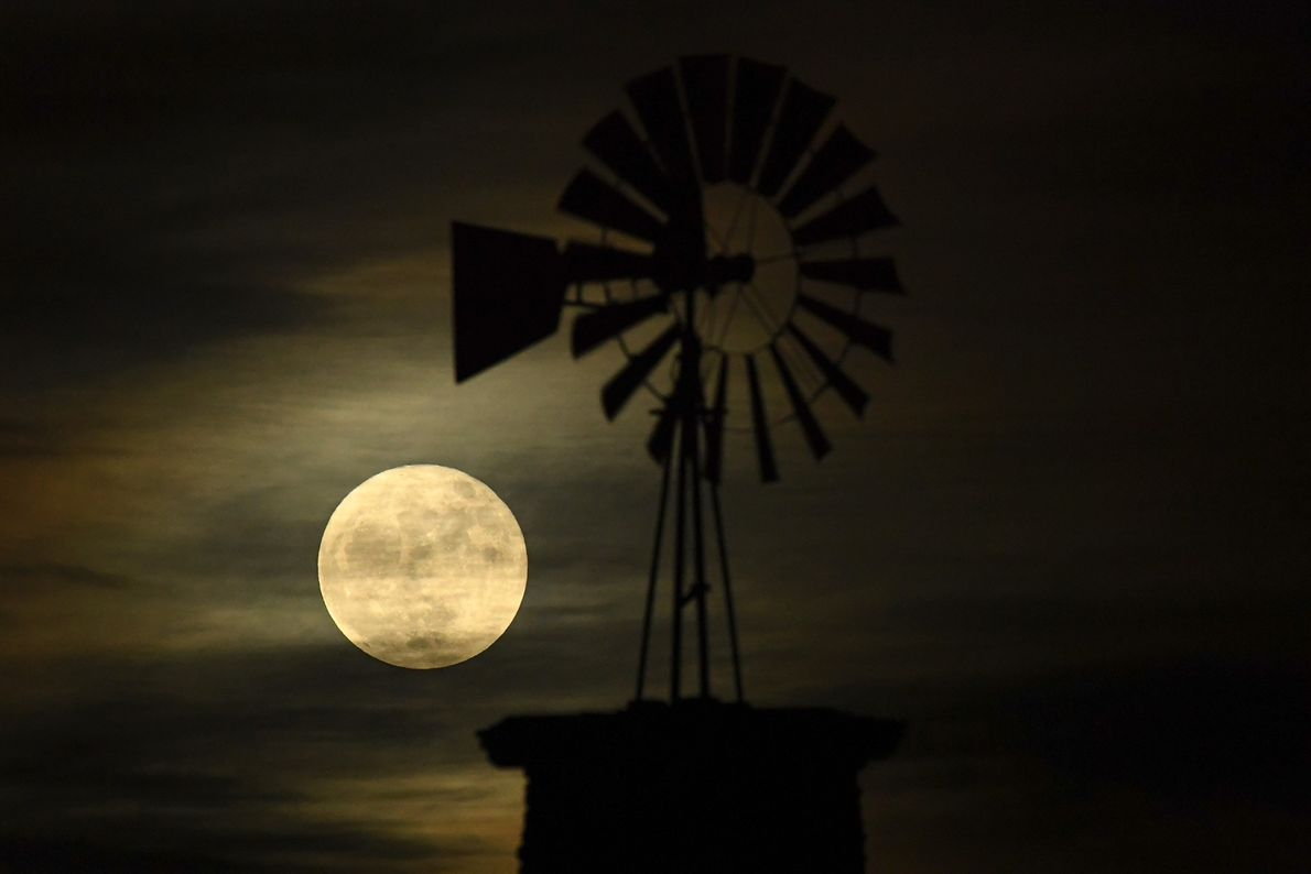 The Highlands Ranch iconic windmill is illuminated by the supermoon in Highlands Ranch, Colorado.