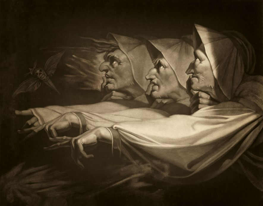 An engraving reproduces Henry Fuseli's 1783 painting of the witches from Shakespeare's tragedy Macbeth. First performed in 1606, the play was a compliment to the newly crowned king of England, James I, who had published a book on witchcraft in 1597.