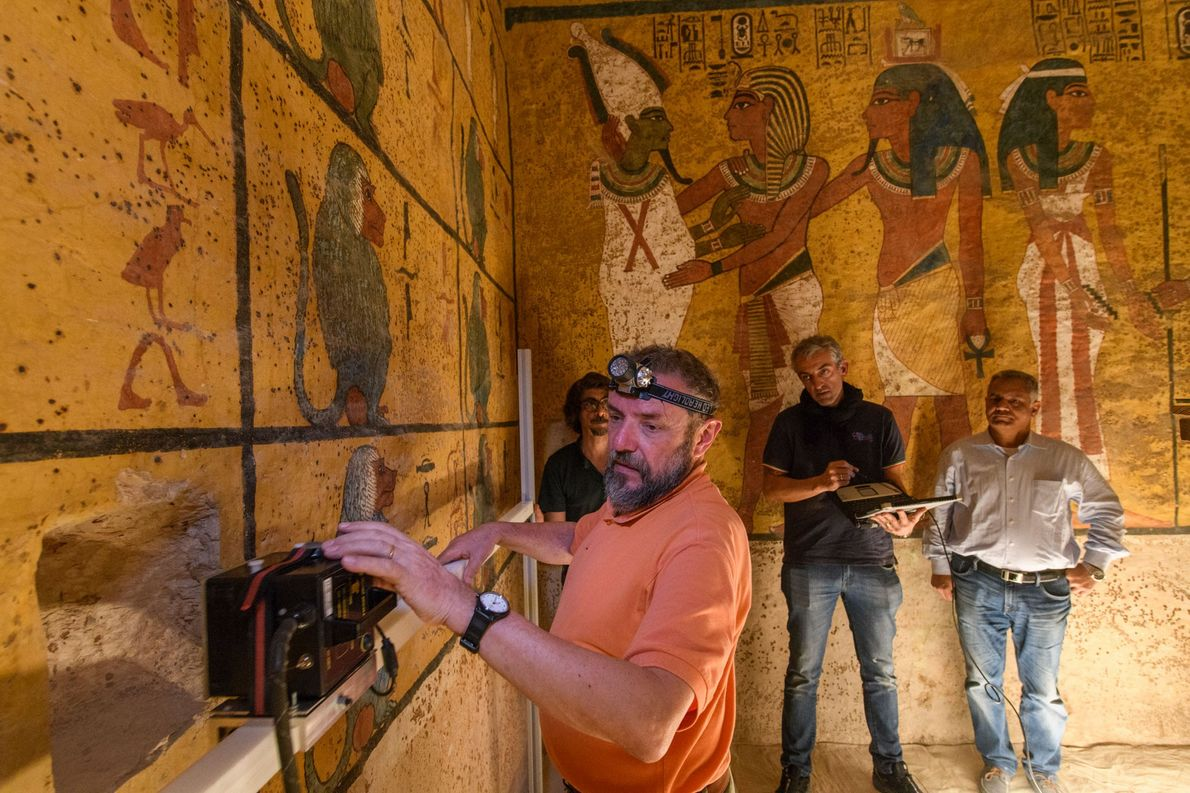 A technician uses ground-penetrating radar (GPR) to search for voids behind the west wall of King ...