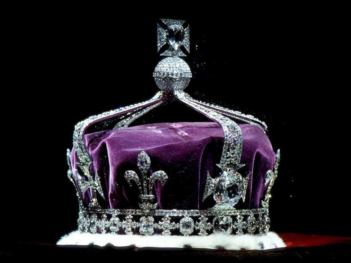 The world famous Koh-i-noor diamond accentuates the grandeur of the crown of Britain's Queen Elizabeth, the ...
