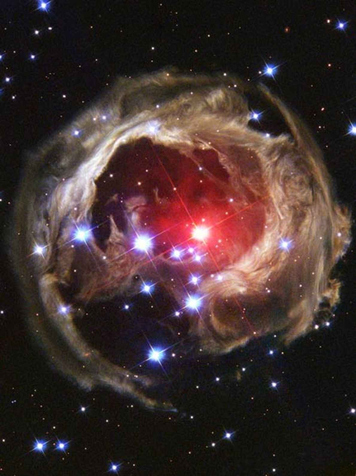 A pulse of light emitted in 2002 from a red supergiant star called V838 Monocerotis illuminates ...