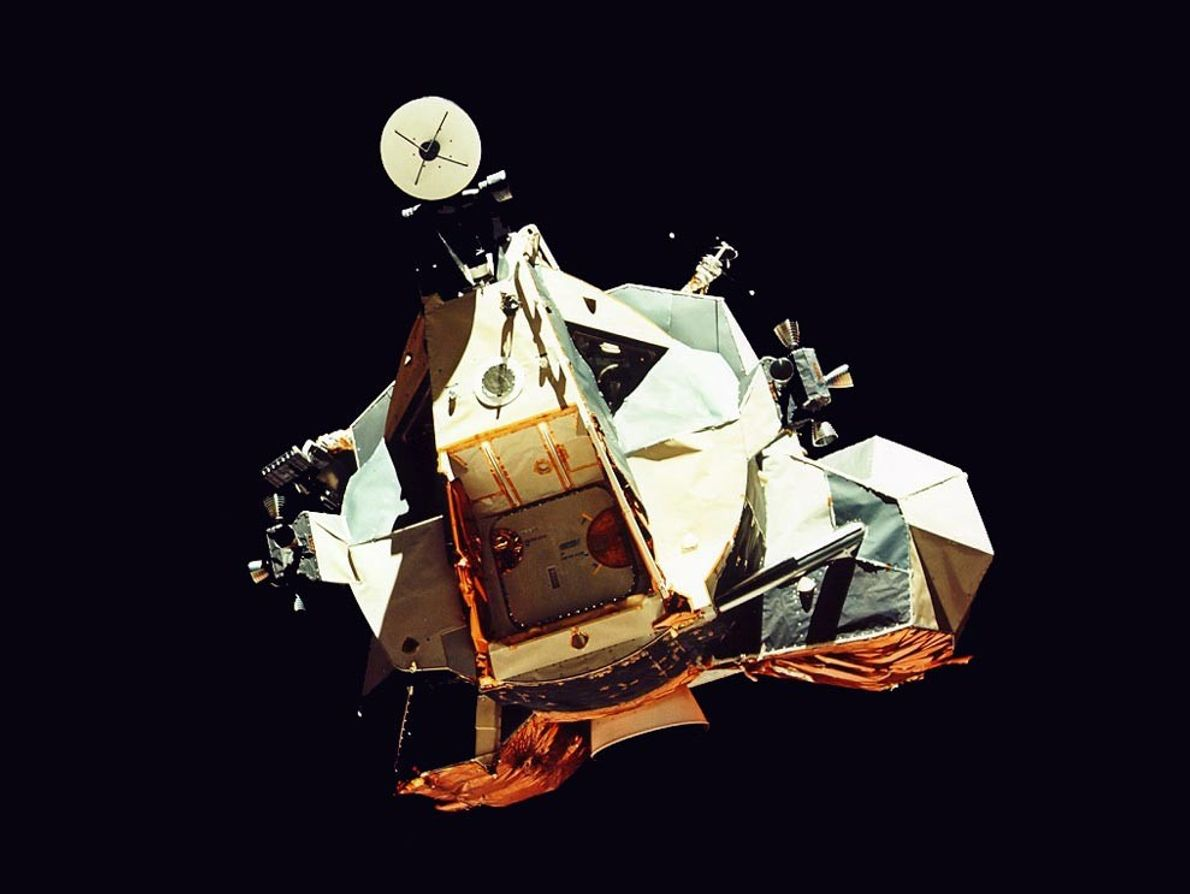 Apollo 17's clumsy-looking Challenger lunar module returns to its command module, America, after its trip to ...