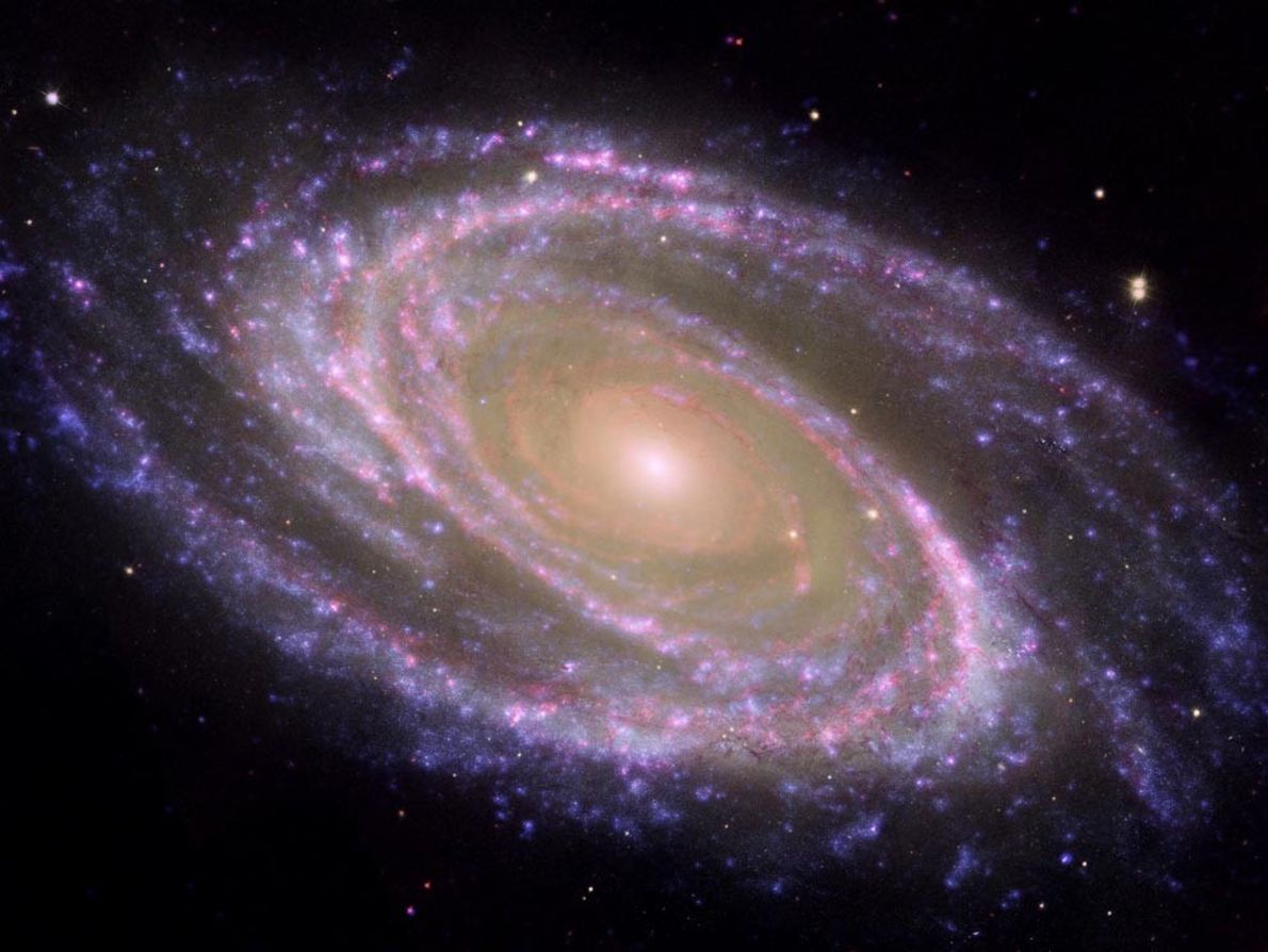"A composite image of the Messier 81 (M81) galaxy shows what astronomers call a ""grand design"" ..."