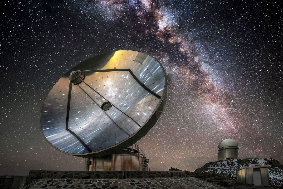 The Swedish-ESO-Submillimetre Telescope sits under the breathtaking Chilean sky at the European Southern Observatory's La Silla ...