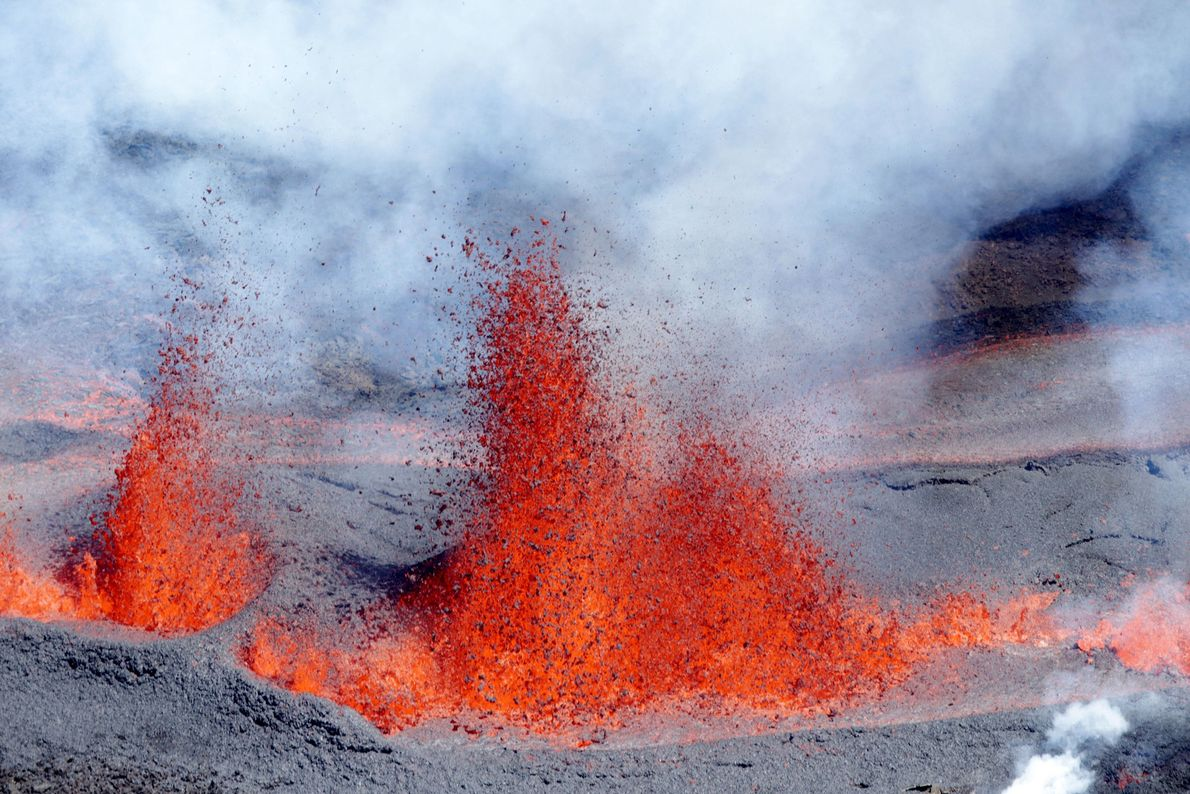 """One of the world's most active volcanoes is the Piton de la Fournaise—or """"peak of the ..."""