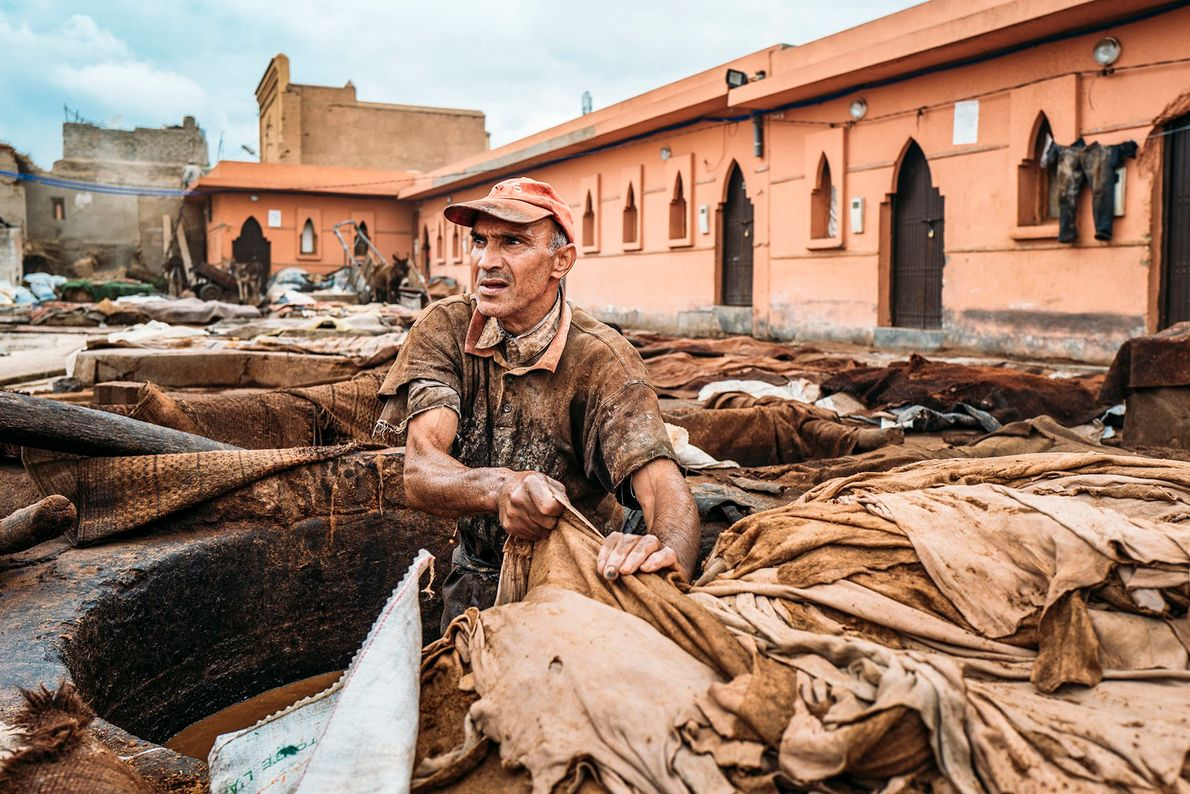 A worker in the process of placing hides in a pit for natural colouring. A range ...