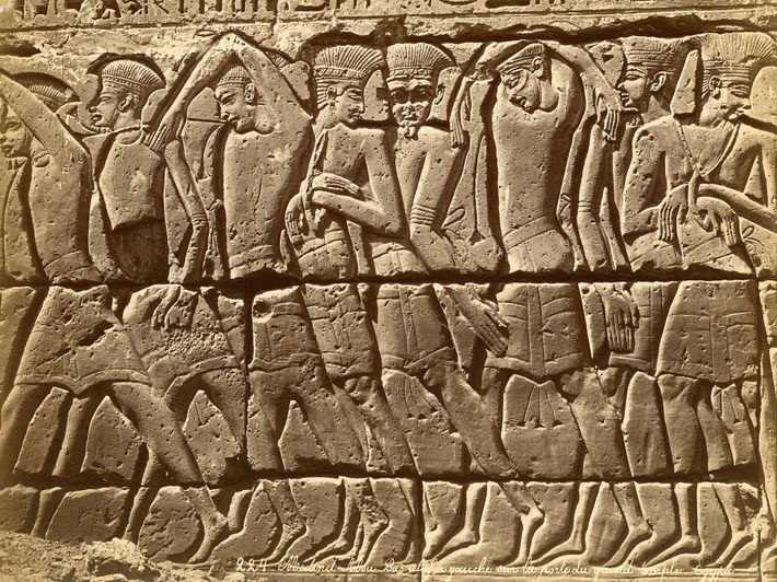 A group of Sea Peoples, most likely Philistines, is depicted in this detail from a relief ...