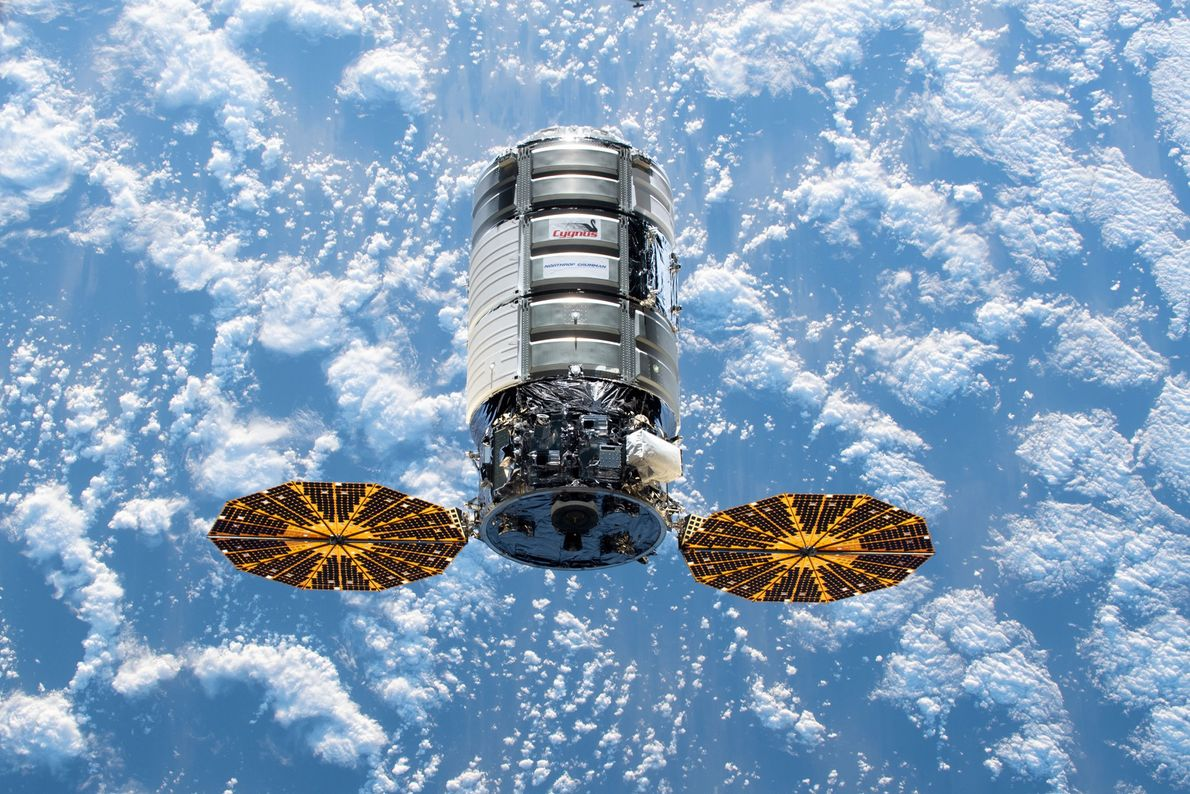 The U.S. Cygnus space freighter approaches the International Space Station with over four tons of science ...