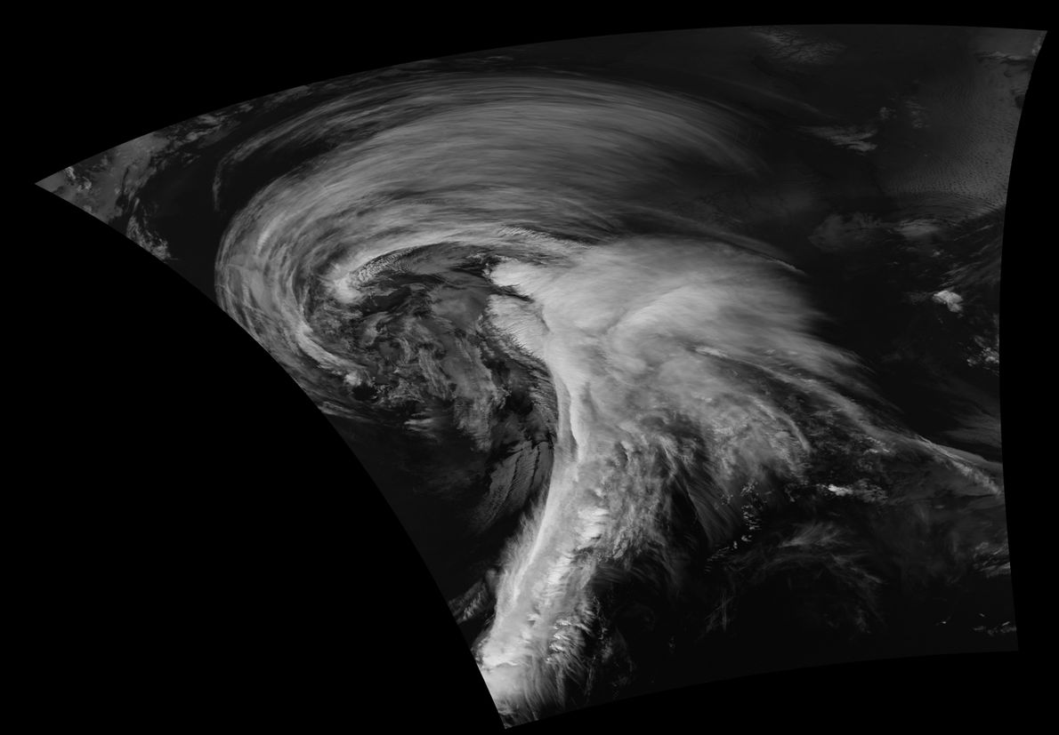 Swirling tempests aren't limited to the seas, as seen in this picture from NASA's Suomi NPP ...