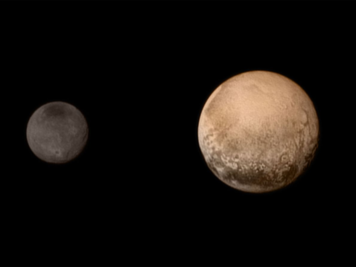 On its final approach, New Horizons sent home this image on July 11, 2015. Surface features ...