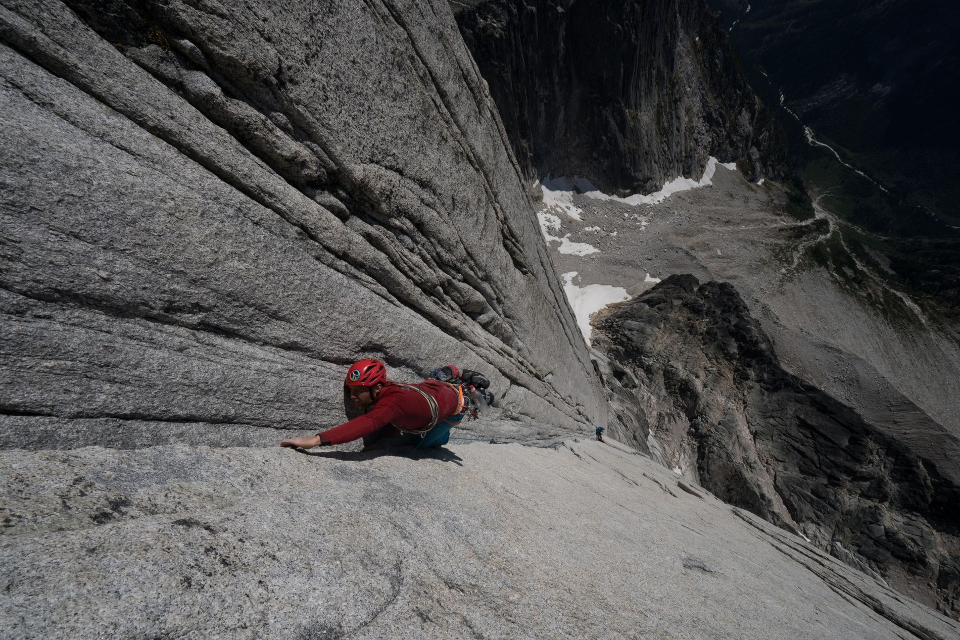 Leo Houlding on the incredible 250m crux corner of the North Tower. The 1000m long climb ...