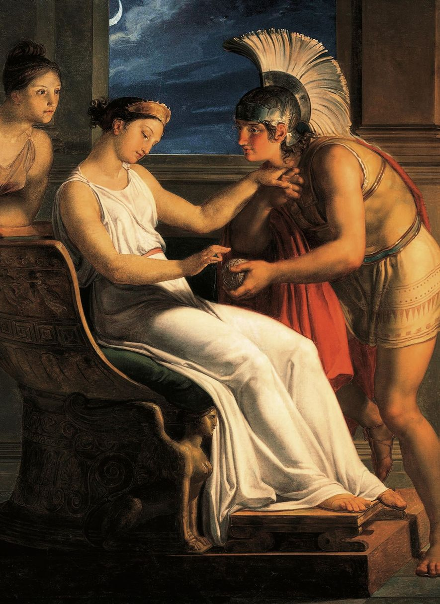 Ariadne's gift to Theseus will enable him to navigate the labyrinth. 19th-century painting by Pelagio Palagi. ...